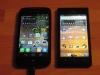 Displayvergleich bei maximaler Helligkeit Alcatel 997D und Huawei Ascend P1