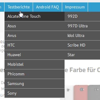 Testberichte Menü - Screenshot