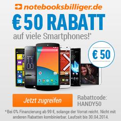 Notebooksbilliger 50 EUR Rabatt auf Handys