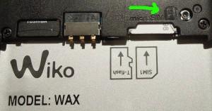 Wiko Wax SIM Slot marked
