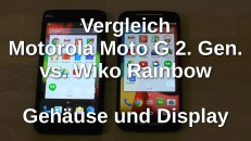Vergleich Moto G2 Wiko Rainbow Außen und Display